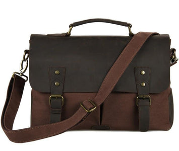 'Jerusalem' Classic Canvas and Leather Messenger Bag-Universal Store London™