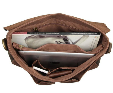 Image of 'Jerusalem' Classic Canvas and Leather Messenger Bag-Universal Store London™