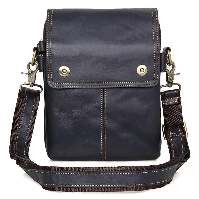 'Johnstone' Leather Vertical Messenger Bag - Black-Universal Store London™