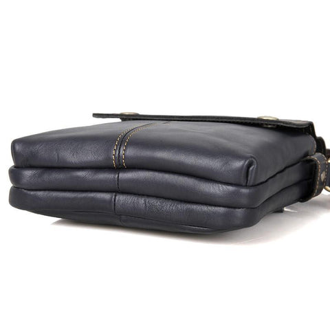 Image of 'Johnstone' Leather Vertical Messenger Bag - Black-Universal Store London™