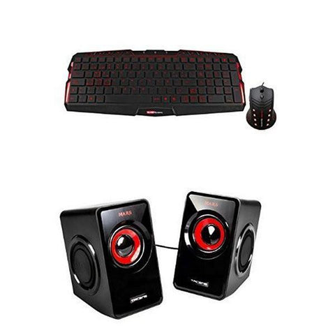 Keyboard and Mouse Tacens MCP0 PRO Backlighted Black Red-Universal Store London™