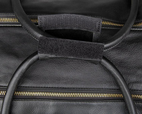 Image of Large Italian Leather Holdall Bag Travel Bag - Black-Universal Store London™