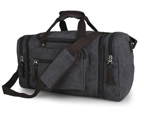 Image of Large Weekender Canvas Duffle Bag - Black-Universal Store London™