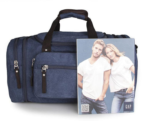Image of Large Weekender Canvas Duffle Bag - Blue-Universal Store London™