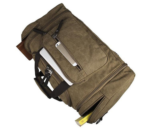 Large Weekender Canvas Duffle Bag - Brown-Universal Store London™