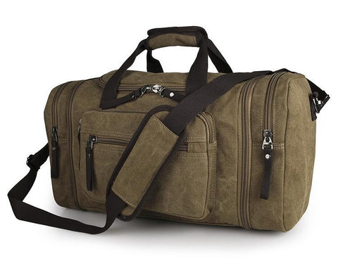 Image of Large Weekender Canvas Duffle Bag - Brown-Universal Store London™