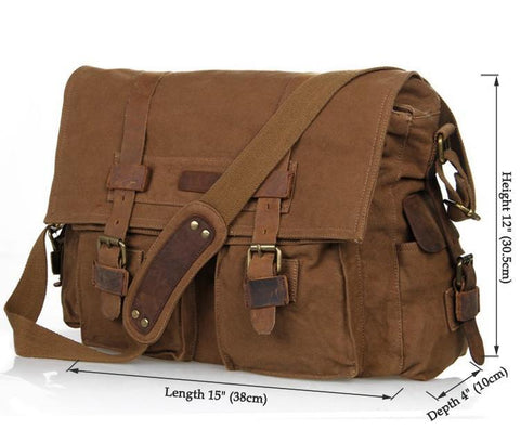 "Image of Leather and Canvas Messenger Bag ""Esturdy""-Universal Store London™"
