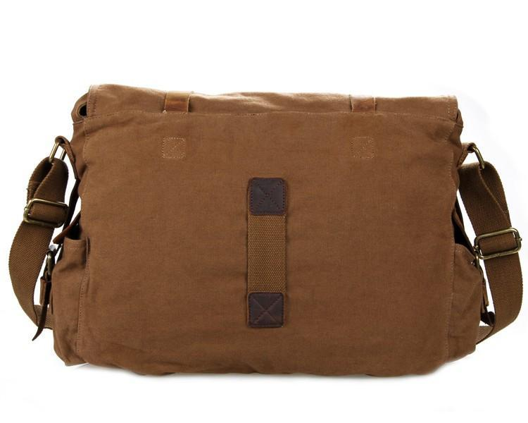 "Leather and Canvas Messenger Bag ""Esturdy""-Universal Store London™"