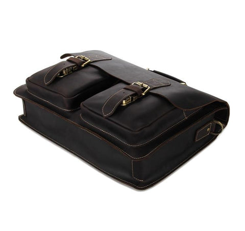 Image of Leather Briefcase Laptop Men's Organizer Bag-Universal Store London™