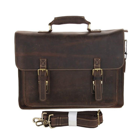 Image of Leather Briefcase 'Parker' Dark Brown-Universal Store London™