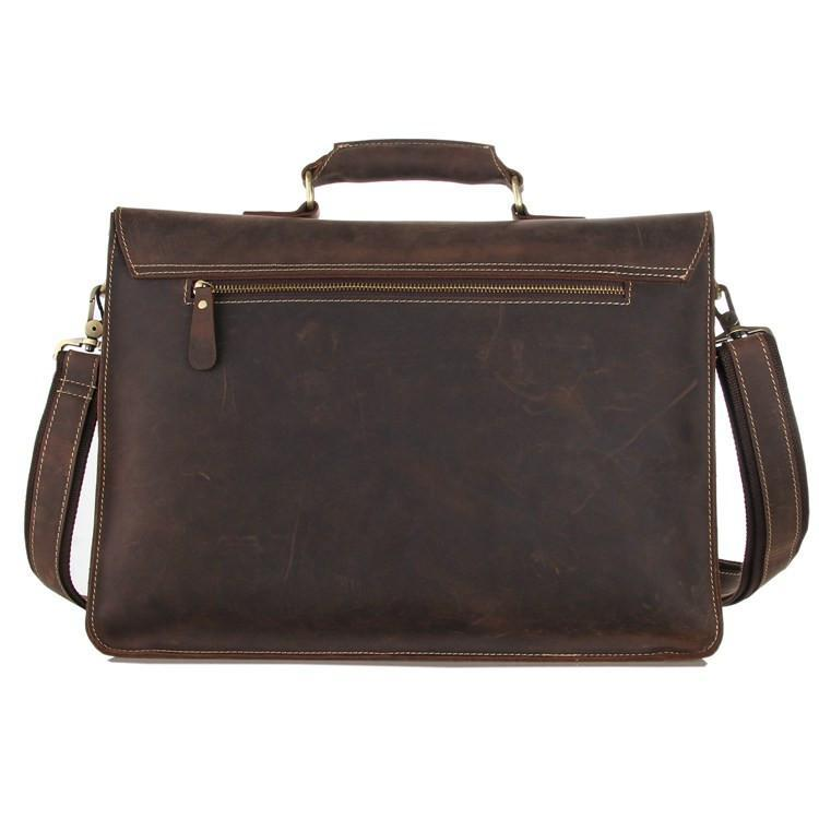Leather Briefcase 'Parker' Dark Brown-Universal Store London™