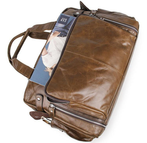 Image of Leather Business Briefcase Messenger Laptop Bag - Brown-Universal Store London™