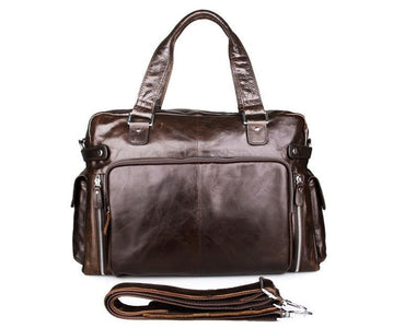 Leather Business Briefcase Messenger Laptop Bag - Dark Brown-Universal Store London™