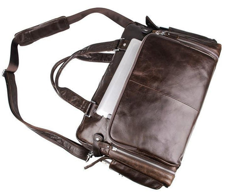 Image of Leather Business Briefcase Messenger Laptop Bag - Dark Brown-Universal Store London™