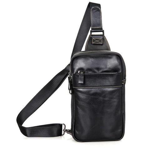 Image of Leather Cross Body Bag Chest Bag Contrast Stitching - Black-Universal Store London™