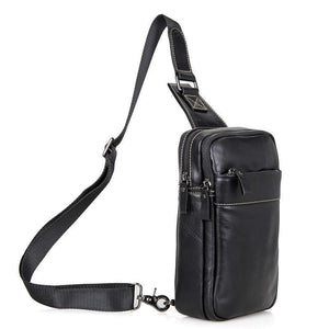 Leather Cross Body Bag Chest Bag Contrast Stitching - Black-Universal Store London™