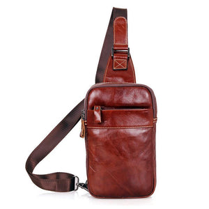 Leather Cross Body Bag Chest Bag Contrast Stitching - Brown-Universal Store London™