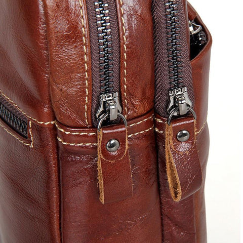 Image of Leather Cross Body Bag Chest Bag Contrast Stitching - Brown-Universal Store London™