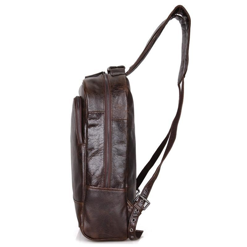 Leather Laptop Backpack - Dark Brown-Universal Store London™