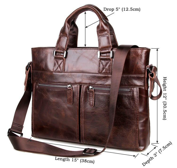 Leather Men's Briefcase, Dark Brown Leather Messenger Bag-Universal Store London™