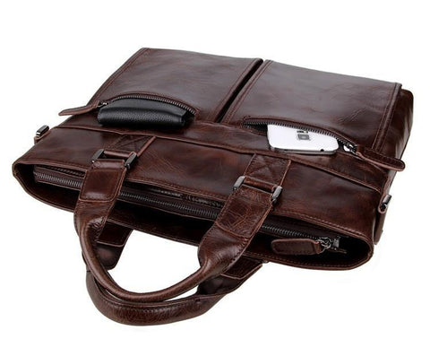 Image of Leather Men's Briefcase, Dark Brown Leather Messenger Bag-Universal Store London™
