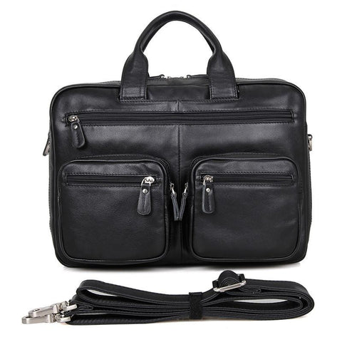 Image of Leather Multi Pocket Business Briefcase-Universal Store London™