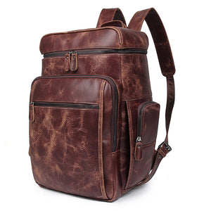 'Noah' Leather Backpack - Barn Red-Universal Store London™