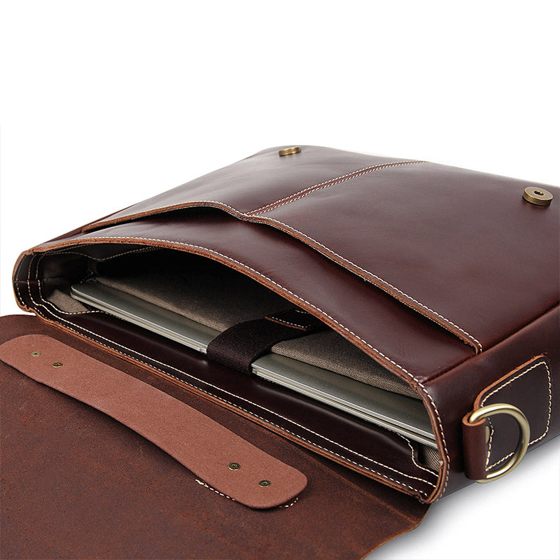 'Ancona' Leather Laptop Messenger Bag - Oxblood-Universal Store London™