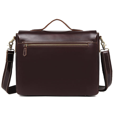 Image of 'Ancona' Leather Laptop Messenger Bag - Oxblood-Universal Store London™