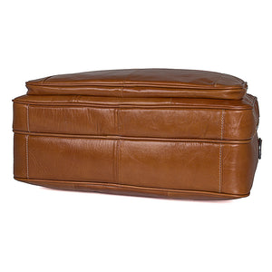 'Alderbury' Overnight Business Leather Briefcase - Brown-Universal Store London™