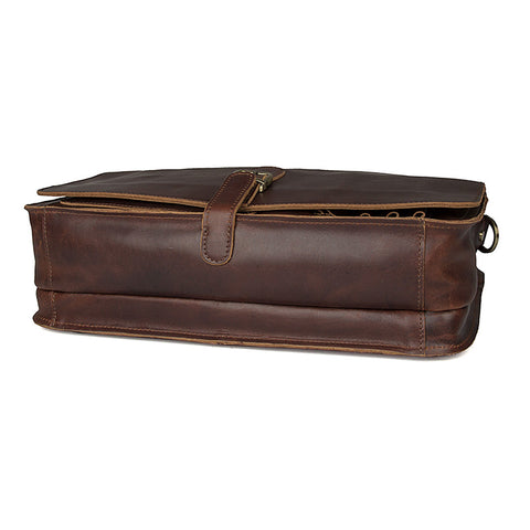 Image of 'Englaland' Handmade Leather Briefcase - Dark Brown-Universal Store London™