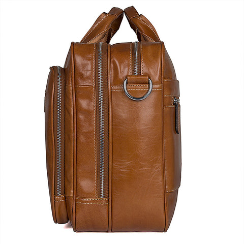 Image of 'Alderbury' Overnight Business Leather Briefcase - Brown-Universal Store London™