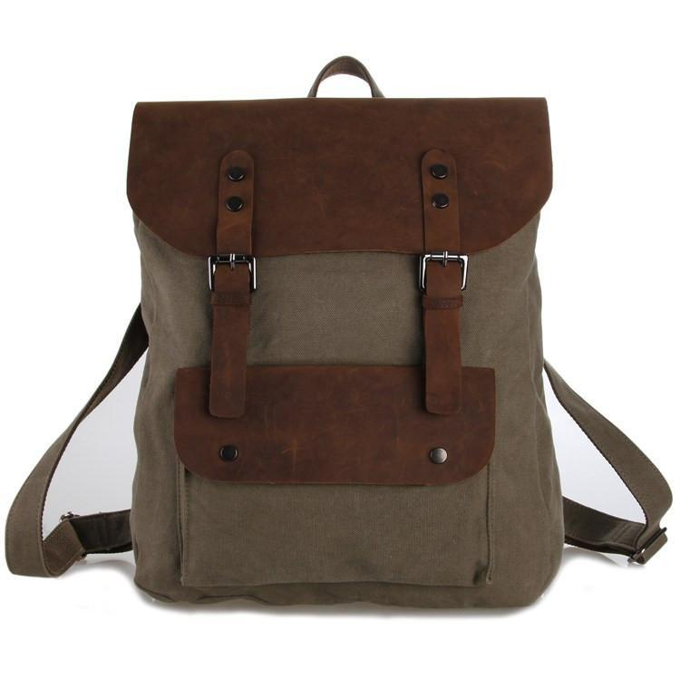 'London' Canvas and Genuine Leather Travel Backpack-Universal Store London™