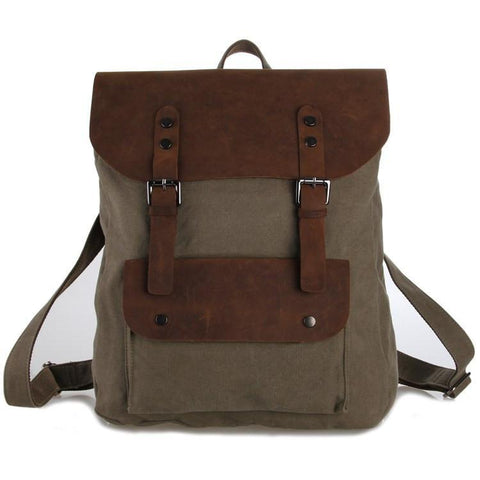 Image of 'London' Canvas and Genuine Leather Travel Backpack-Universal Store London™