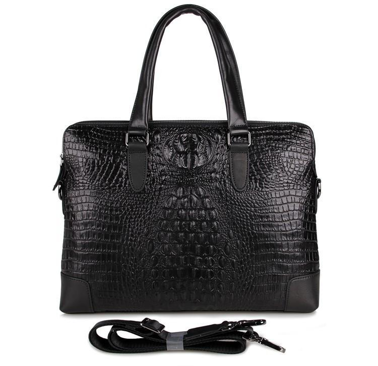 'Mayfair' Black Deep Embossed Croc Print Leather Handbag-Universal Store London™