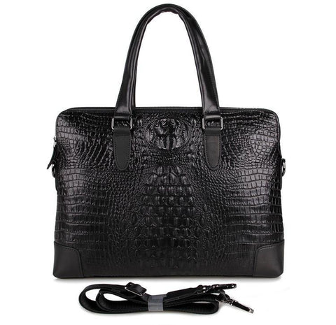 Image of 'Mayfair' Black Deep Embossed Croc Print Leather Handbag-Universal Store London™