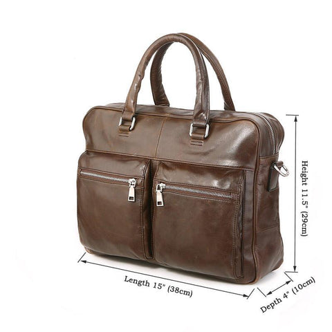 Image of 'Mayfair' Leather Business Bag - Brown-Universal Store London™