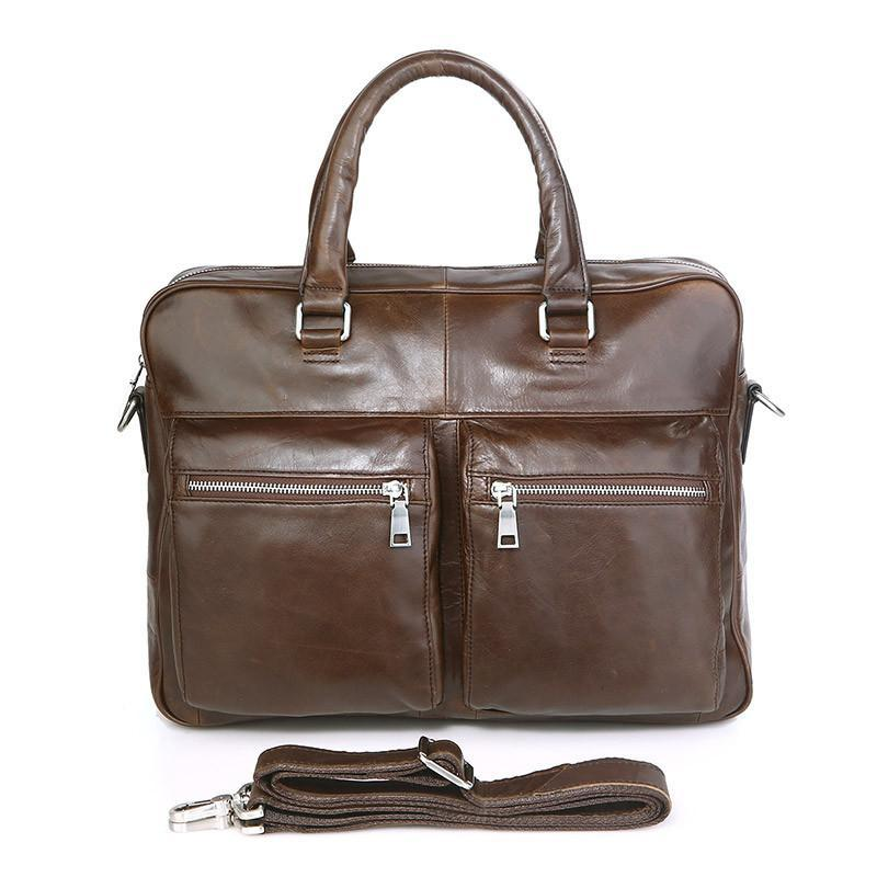 'Mayfair' Leather Business Bag - Brown-Universal Store London™
