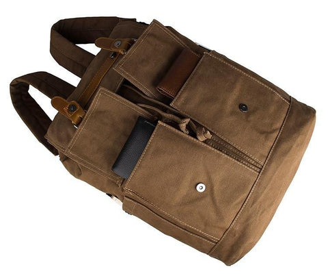 Image of Metropolitan Canvas Backpack - Brown-Universal Store London™