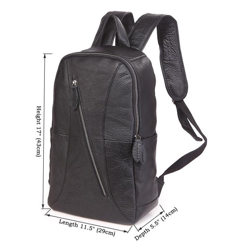 'Metropolitan' Grained Leather Backpack - Black-Universal Store London™