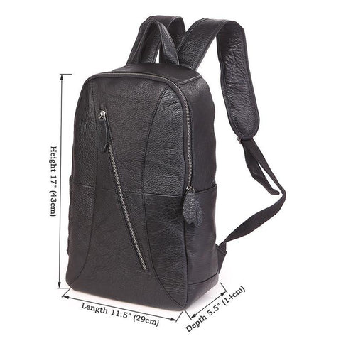 Image of 'Metropolitan' Grained Leather Backpack - Black-Universal Store London™