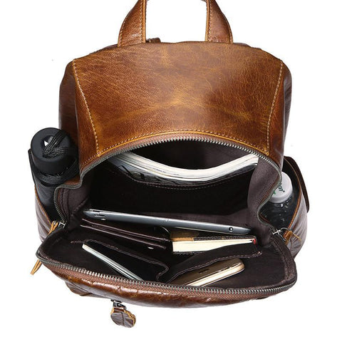Image of 'Metropolitan' Leather Backpack - Brown-Universal Store London™