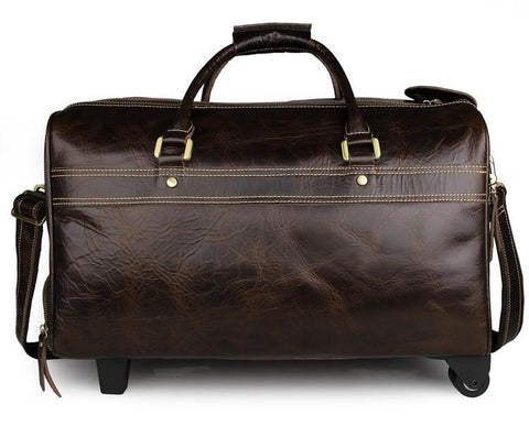 Image of 'Midas' Leather Travel Bag with Wheels-Universal Store London™