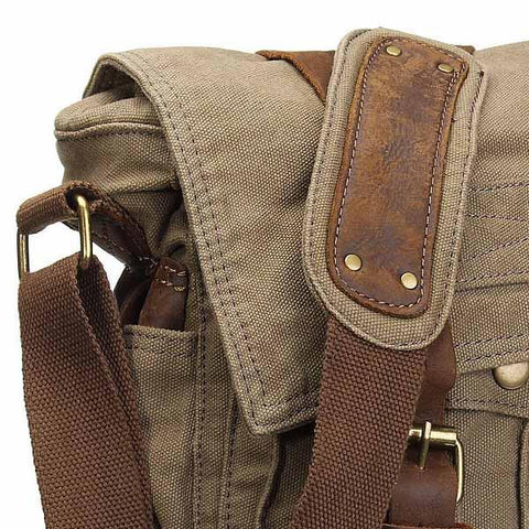 Image of Military Style Canvas and Leather Messenger Bag-Universal Store London™