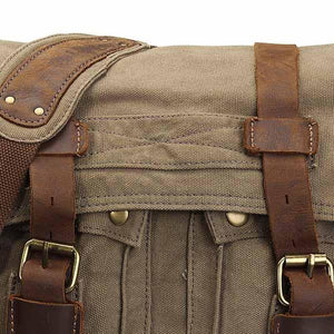Military Style Canvas and Leather Messenger Bag-Universal Store London™