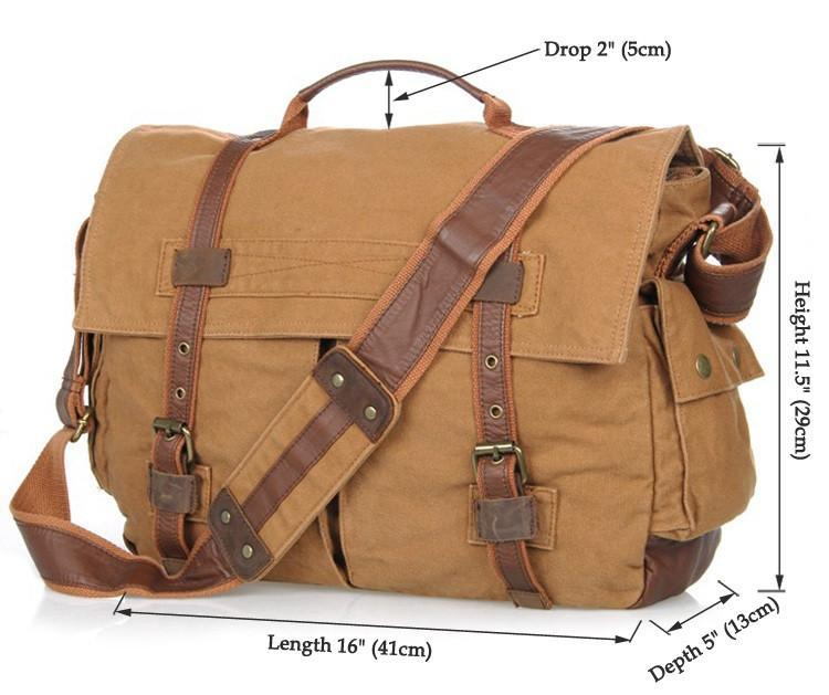 Military Style Messenger Bag - Brown-Universal Store London™