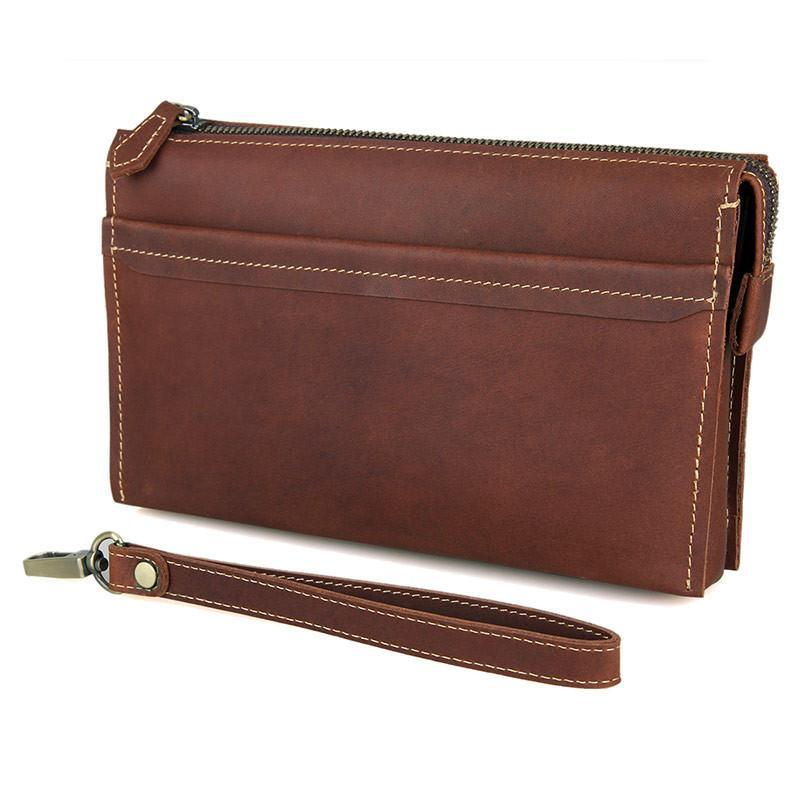Modern Vintage Leather Clutch Bag With Wrist Strap-Universal Store London™