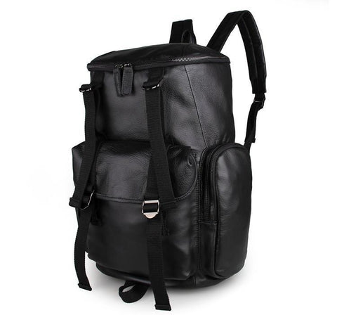 Image of 'MontBlanc' Large Leather Backpack-Universal Store London™