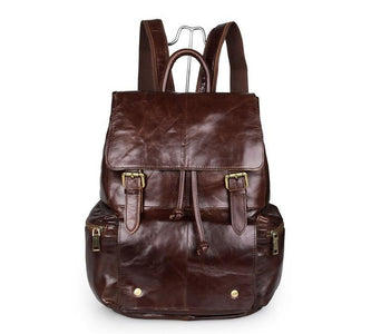 'Mulier' Casual Soft Leather Women's Backpack - Dark Brown-Universal Store London™
