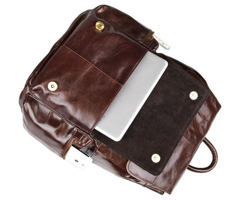 Image of 'Mulier' Casual Soft Leather Women's Backpack - Dark Brown-Universal Store London™
